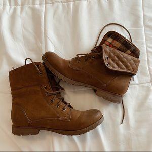 Brown Combat Moto Boots